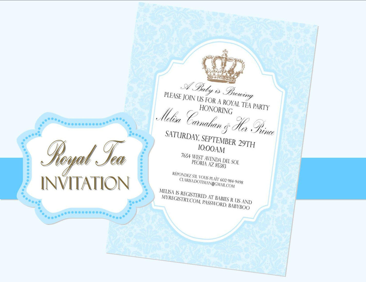 ROYAL TEA INVITATION - Blue- Crown Invite - Blue Wedding