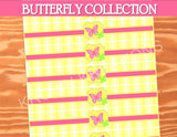 BUTTERFLY Party - LABEL- Birthday Party- Pink Bridal Shower- Adult