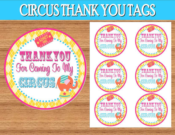 CIRCUS Birthday Party- Girly Circus- THANK YOU TAGS- Circus Party