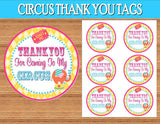 CIRCUS Birthday Party- Girly Circus FOOD LABELS- CIRCUS PARTY- Bright Circus Party