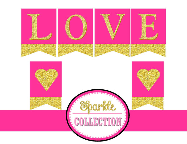 Bridal Shower LOVE BANNER- Pink Wedding- Bridal Shower