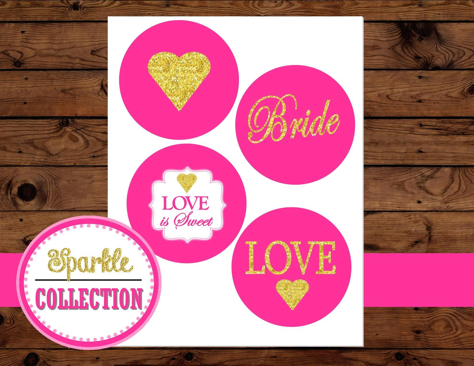 Bridal Shower BURST- Gold Heart- Gold and Pink- Wedding