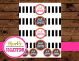 BRIDAL SHOWER- Black and White Stripe CUP WRAPPERS- Pink Wedding- Pink