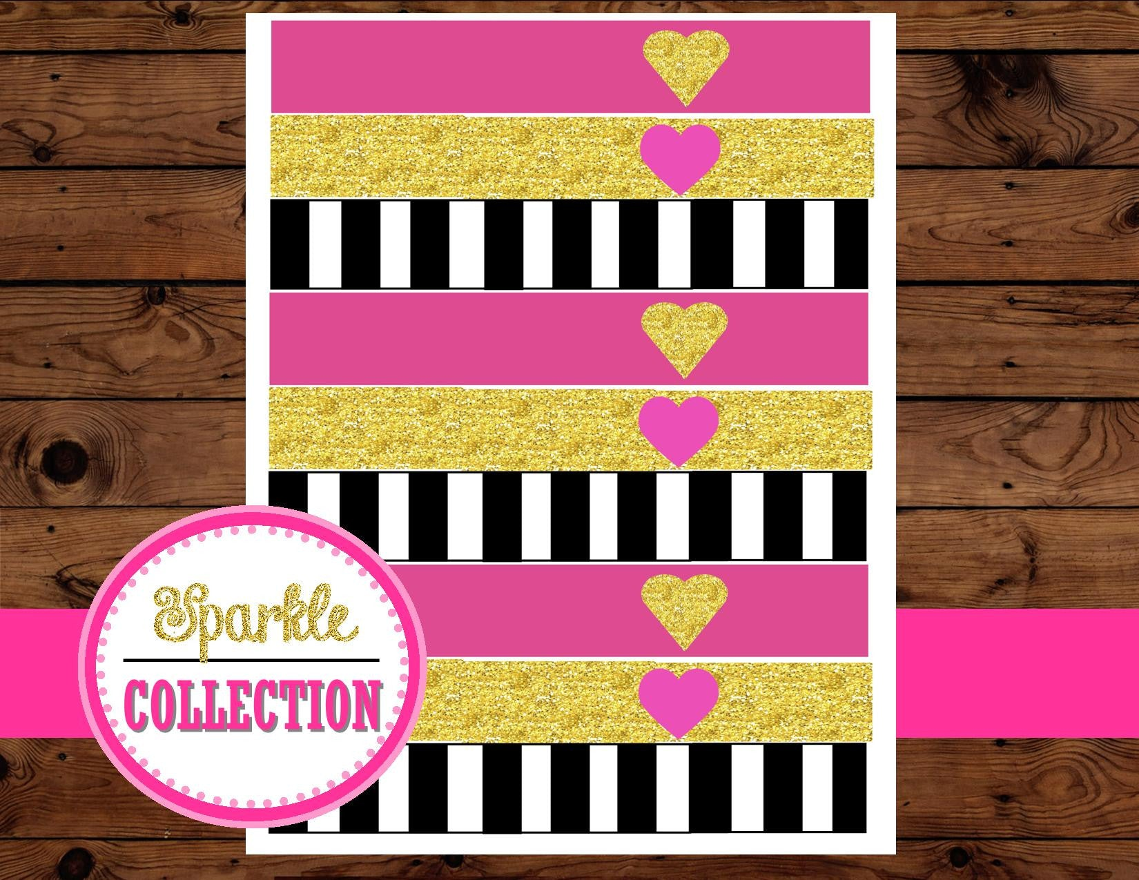 Bridal Shower STRAW FLAGS - Pink and Gold - Bridal Collections - Black and White Stripe