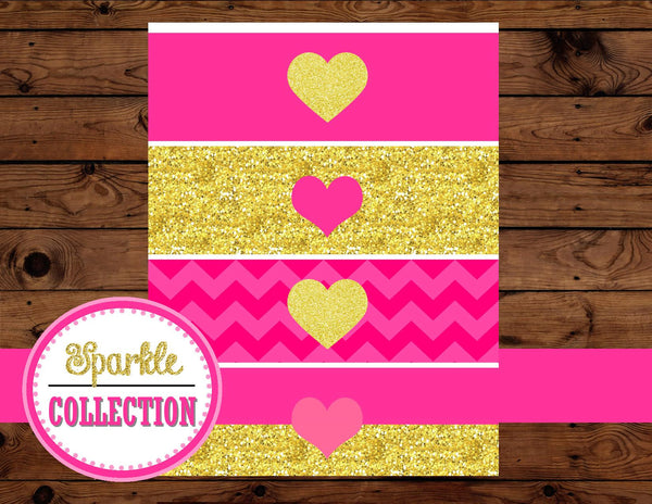 BRIDAL Shower BOTTLE LABELS - Gold Heart - Gold and Pink - Pink Bridal Shower