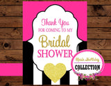 Black and White Stripe -THANK YOU TAGS - Bridal Shower