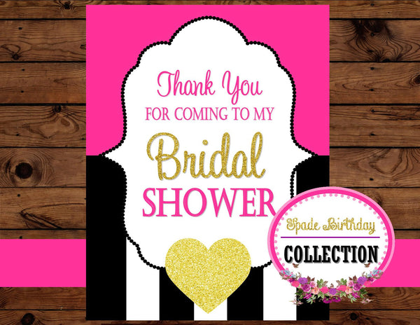 Black and White Stripe Wedding- Bridal Shower THANK YOU- Pink Wedding