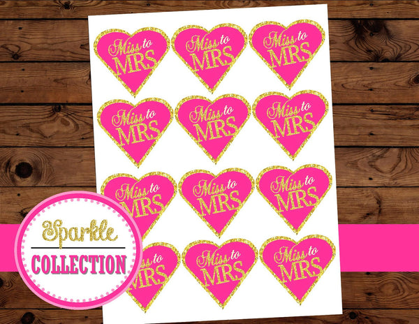 Bridal Shower- Gold Heart - Gold and Pink- Heart TOPPERS