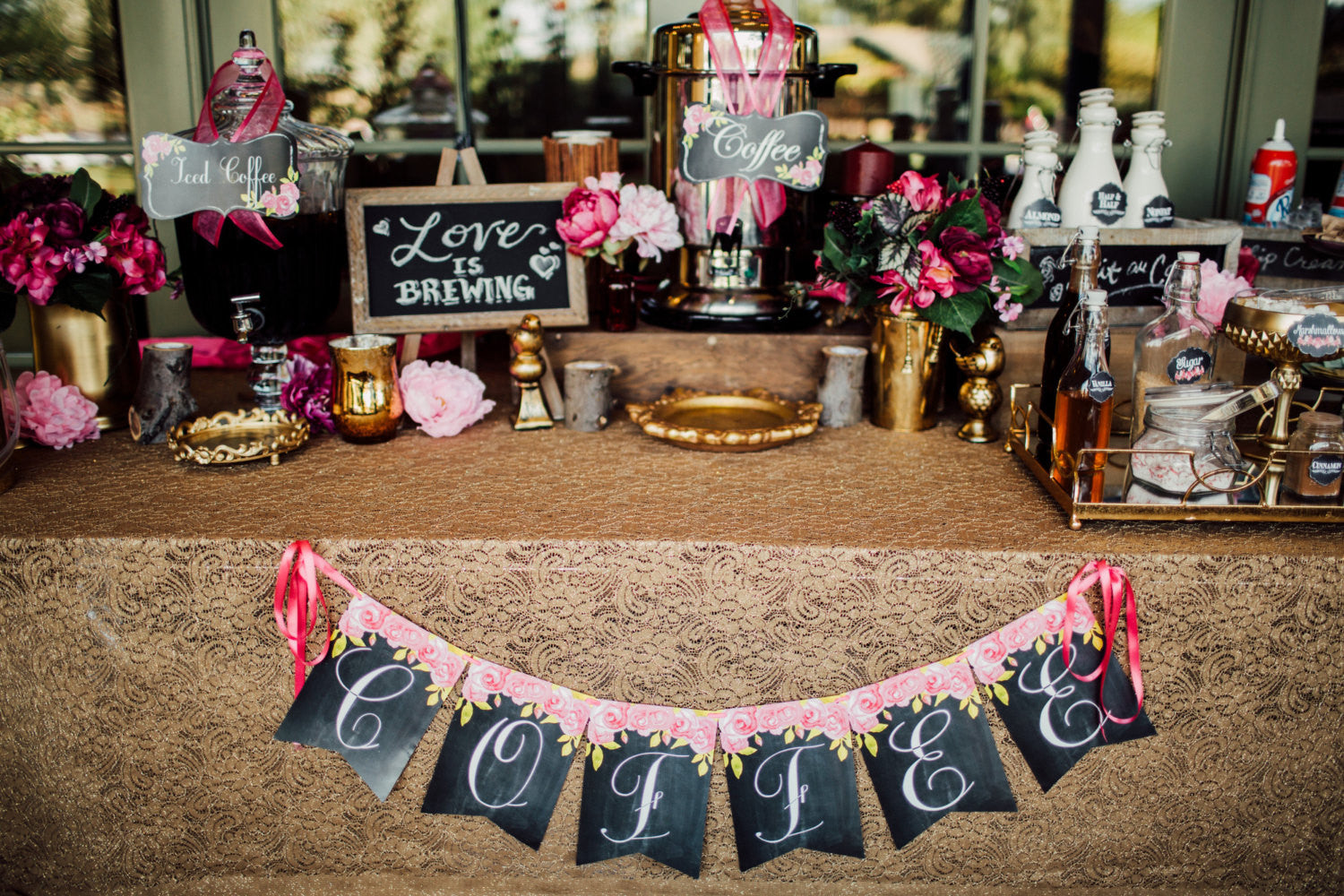 BRIDAL Shower- COFFEE BANNER- Chalkboard Wedding- PINK Wedding- Coffee