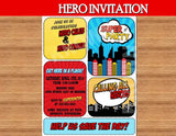SUPERHERO Party- Comic INVITATION- COMIC Hero Party- Superhero