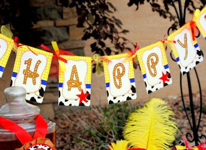 COWPRINT- COWGIRL Party- Horse Party- Girl Party- BANNER