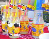 TOY Party- STRAW FLAGS - COWBOY Birthday- Cowprint - Story Book