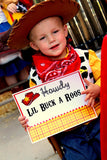 TOY Party- FOOD LABEL- COWBOY Birthday- Cowprint- Story Book