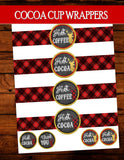 DEER Party- Reindeer- Plaid- Rustic Christmas- CUP LABELS- Plaid Christmas Coffee Cup Labels- Coffee Bar