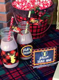 DEER Party- Reindeer- Plaid- Rustic Christmas- BOTTLE LABELS- Plaid Christmas Party Decorations