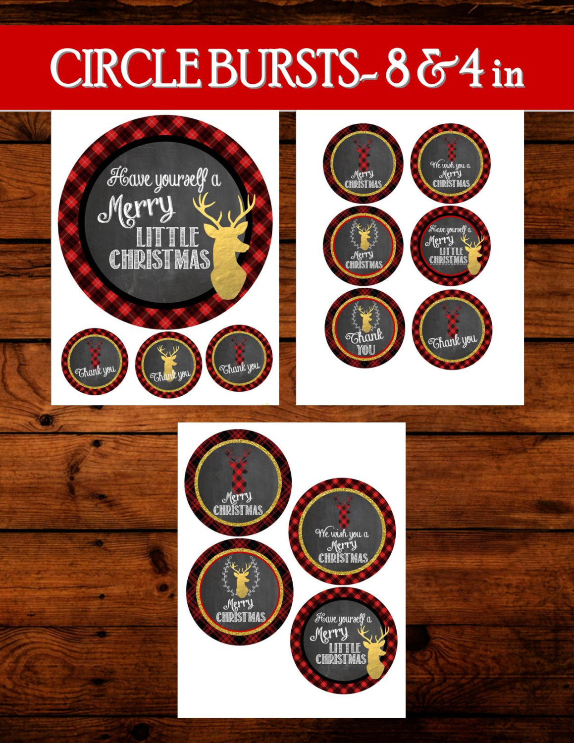 DEER Party- Reindeer- Plaid- Christmas Party- BURSTS- Plaid Christmas Decorations- Tartan