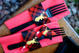 Plaid- Rustic Christmas- DEER Party- NAPKIN WRAPPERS- Reindeer