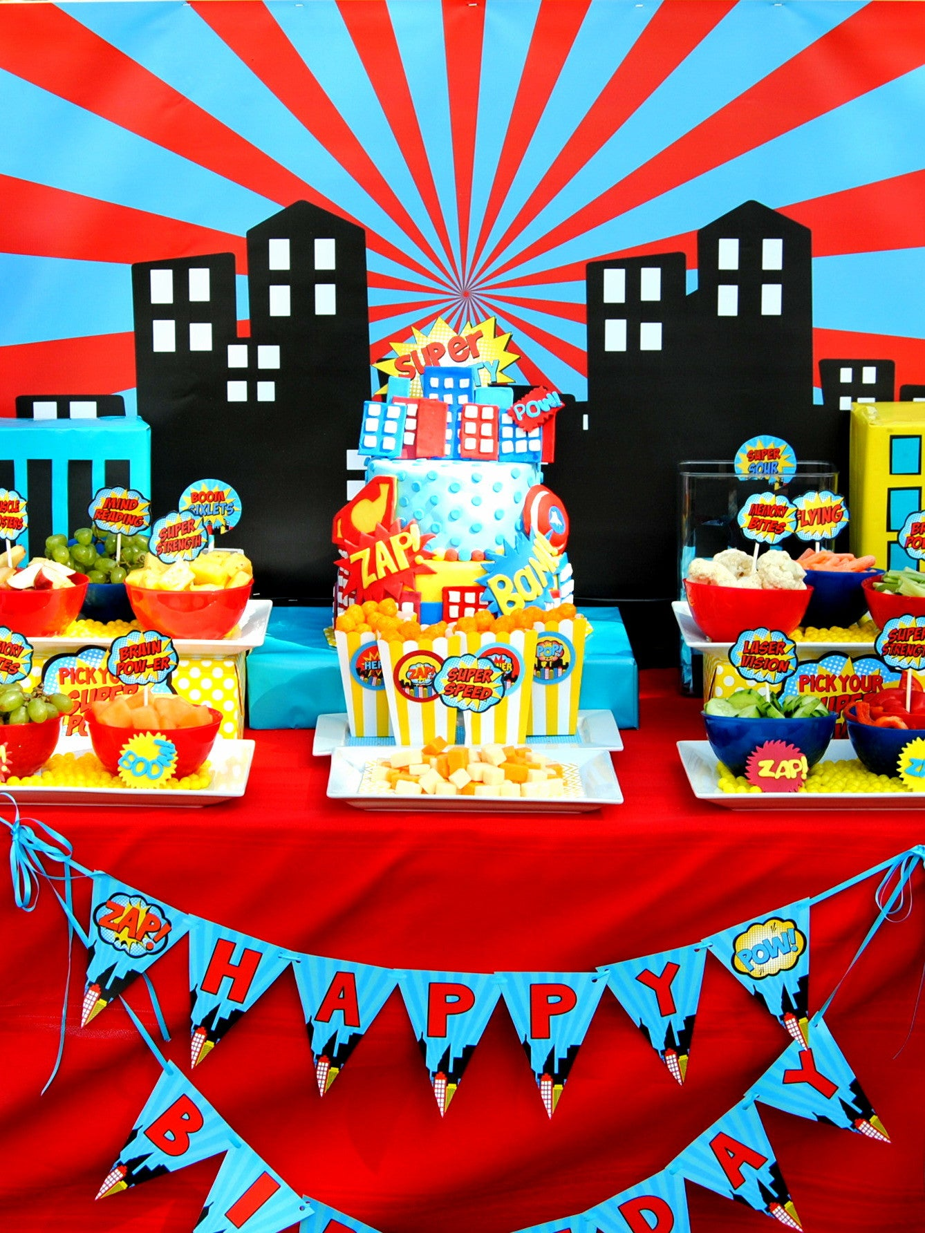 COMIC Book Party CITY SCAPE Superhero Birthday Superhero