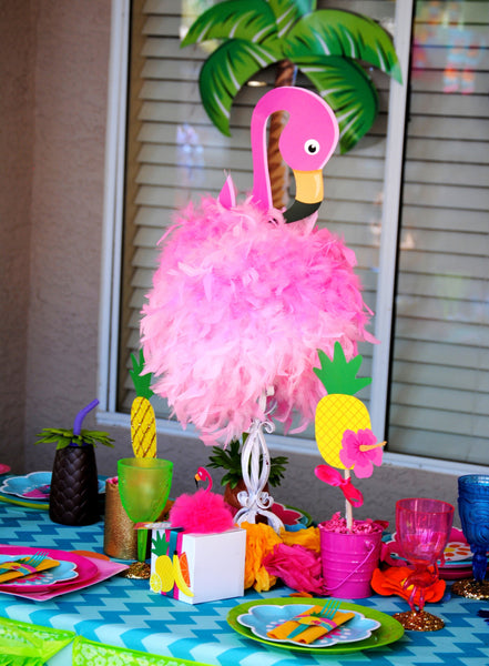 FLAMINGO Party- Flamingo Birthday- Pineapple  Luau Party- Flamingo CENTERPIECE