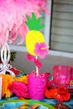FLAMINGO Party -Flamingo Birthday - Flamingo FAVOR LABELS- Pineapple - Luau Party