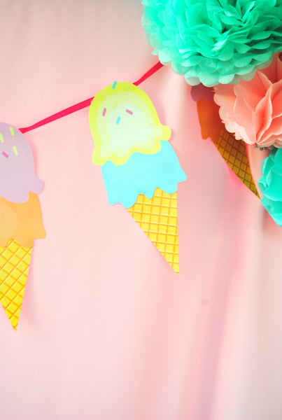 Ice Cream Party - ICE CREAM Printables - Ice Cream - Sweet Shop - Ice Cream Shoppe - ICE CREAM Birthday - First Birthday - ICECREAM Banner