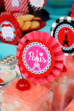 PARIS Party- AMERICAN in PARIS- Girl Party- Baking Party- Gracie- Doll Party-Cupcake- Baking- Poodle- BOTTLE LABELS