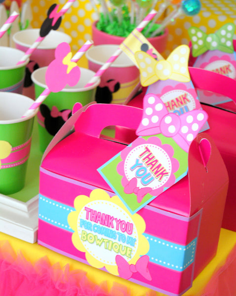 Bowtique Party- PINK MOUSE Birthday Party- Mouse THANK YOU TAGS- Mouse Party