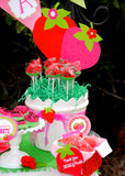 STRAWBERRY Party- Strawberry CUPCAKE TOPPER- Strawberry