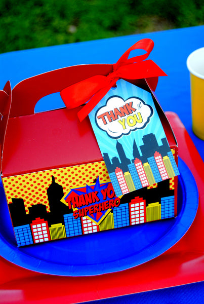 SUPERHERO Party- Superhero FAVOR BOX Labels - Superhero Birthday Party - Comic Party