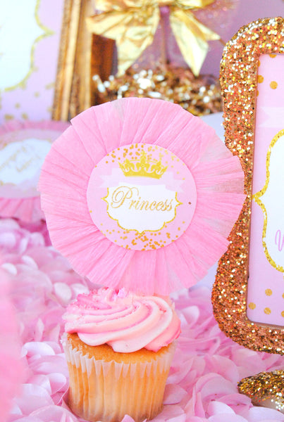 PRINCESS Birthday - Princess CUPCAKE TOPPERS - Sparkle- Princess Party- Pink