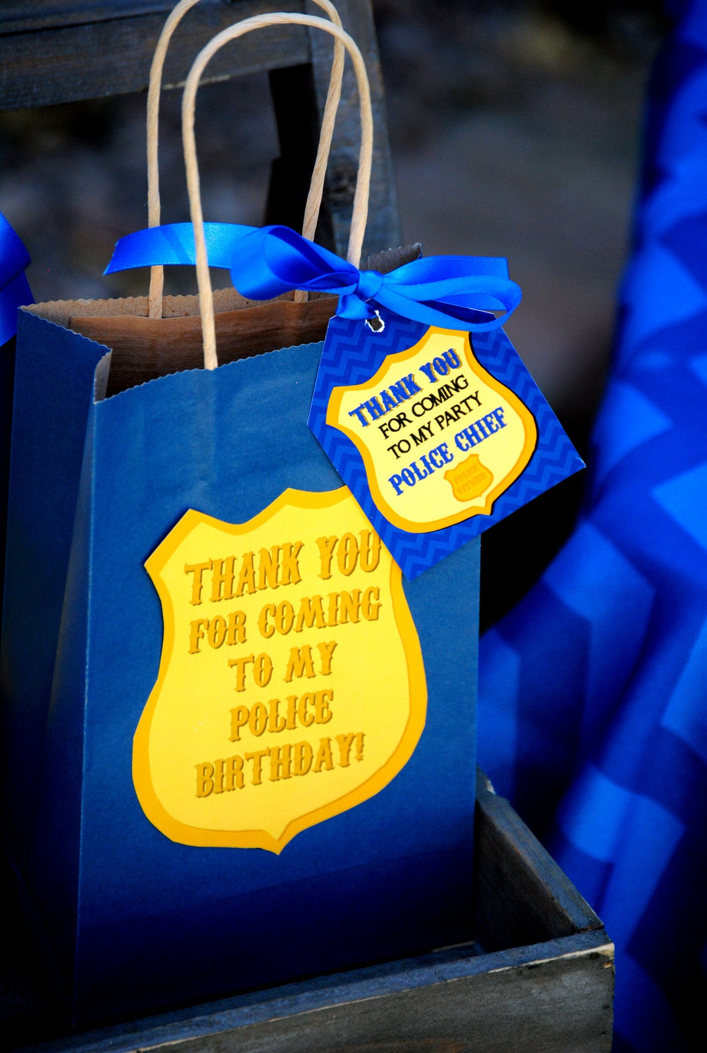 Police THANK YOU BAG LABELS - Police Party - Cop Party - Police Officer Birthday Party