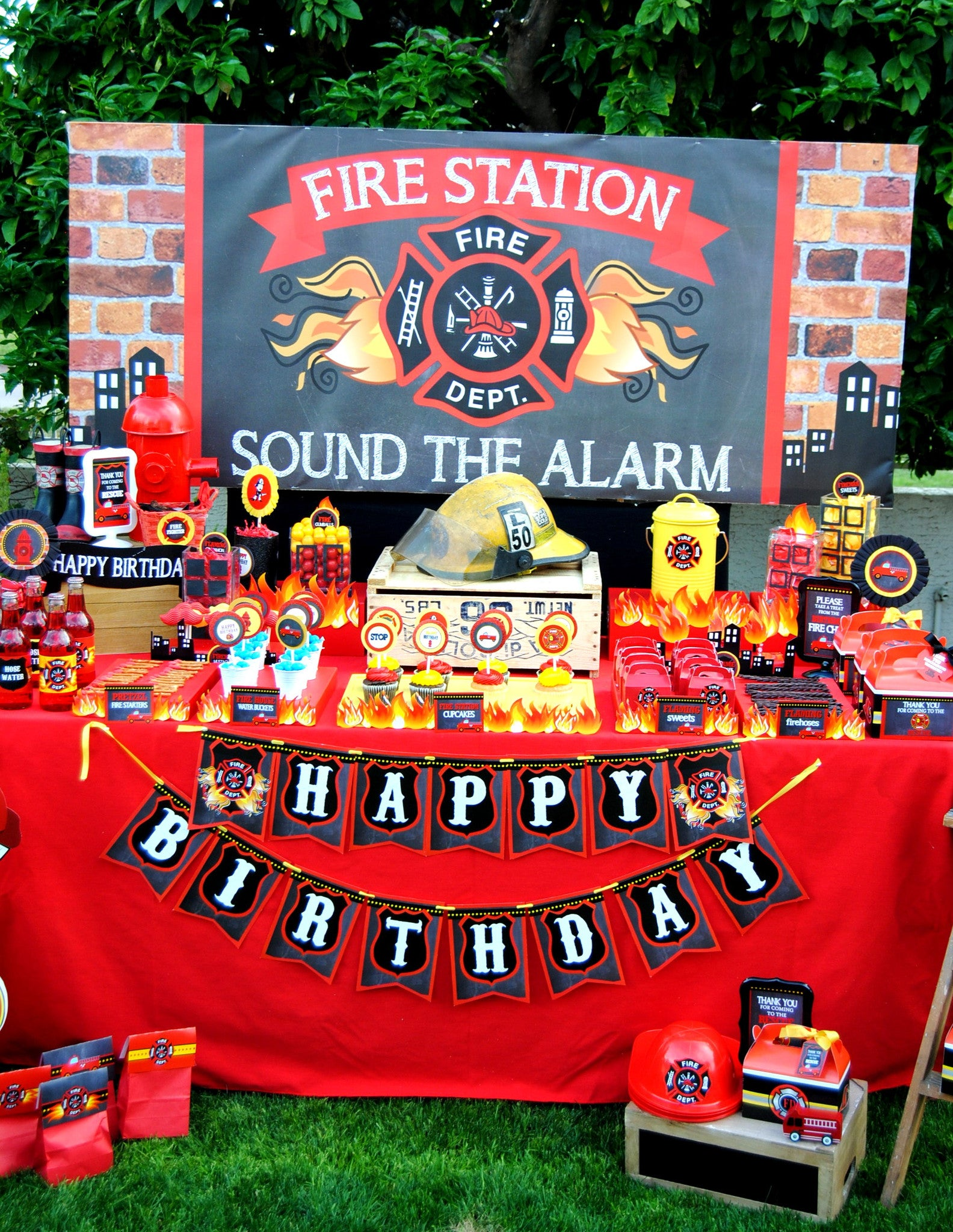 Fireman birthday fire fighter party engine