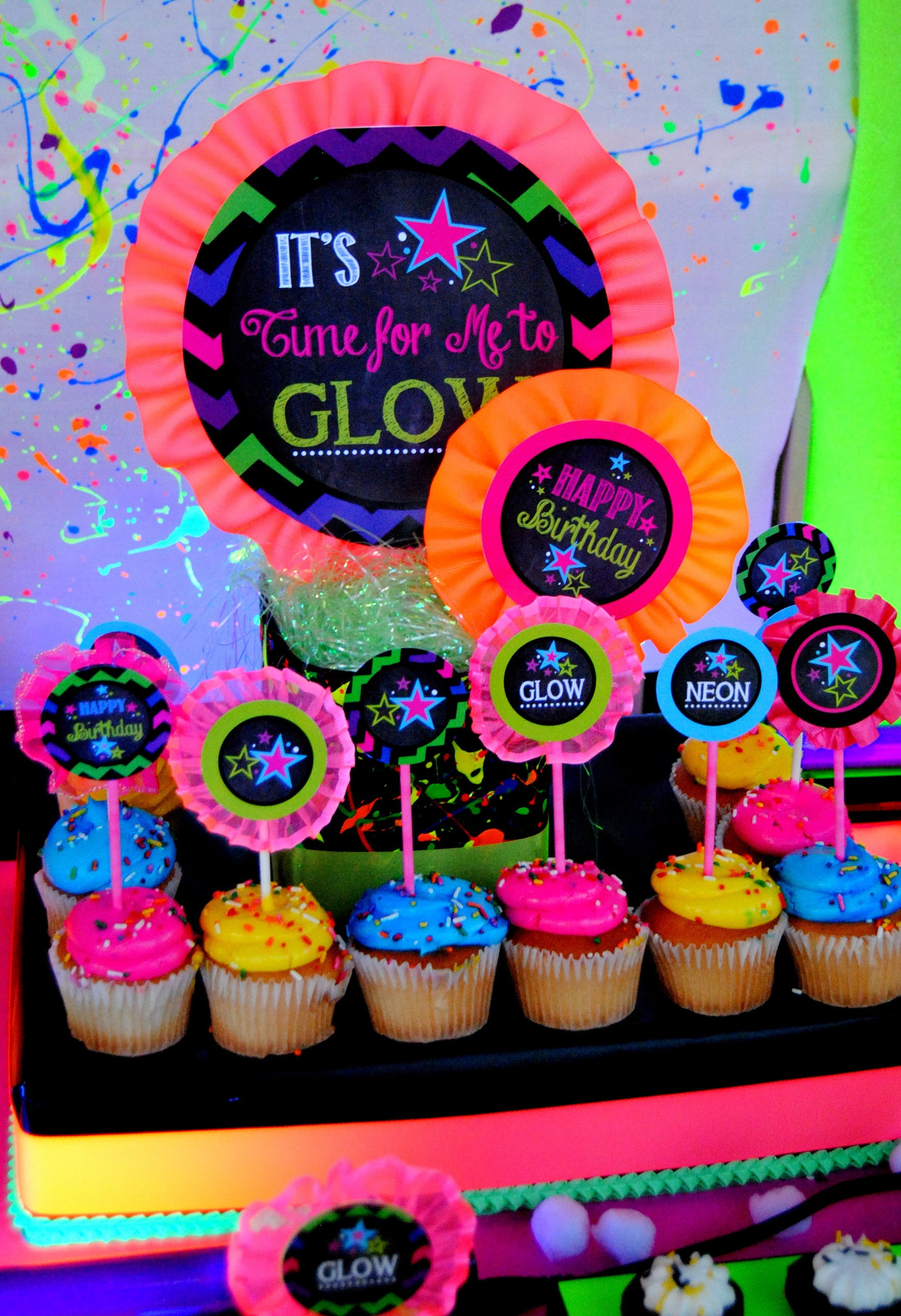 NEON Party Glow In the Dark BANNER Teen Party Printables Glow