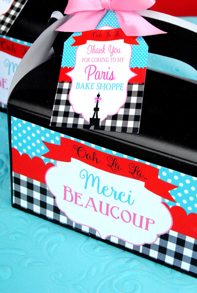PARIS Party- AMERICAN in PARIS- Girl Party- Baking Party- Gracie- Doll Party-Cupcake- Baking- Poodle- FAVOR TAG LABELS