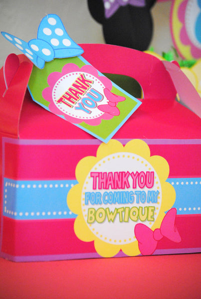 Bowtique Party - PINK MOUSE Birthday Party - Bowtique FAVOR BOX - Mouse Party