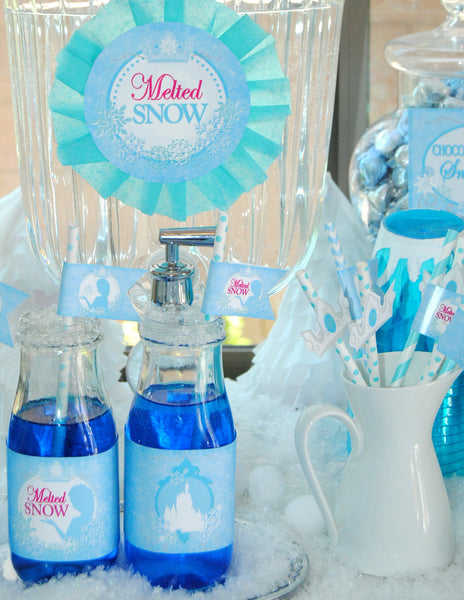 PRINCESS Party- BOTTLE Labels- GIRL Birthday Party -Frozen -Snowflake-Shower - INSTANT Download