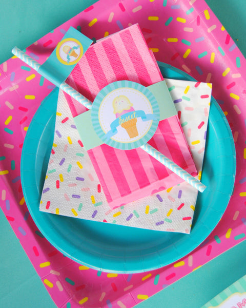 Ice Cream Party - ICE CREAM Printables - Ice Cream - Sweet Shop - Ice Cream Shoppe - ICE CREAM Birthday - First Birthday - ICECREAM - Ice Cream NAPKIN WRAPPERS
