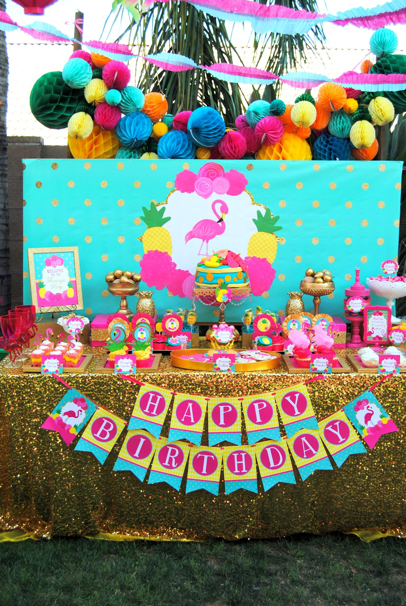 4c2d412ada FLAMINGO Party- Pink Flamingo- Girl Birthday Party- Hawaiian Luau- Sum –  Krown Kreations   Celebrations