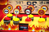 FIREMAN Birthday - Fire Fighter CUPCAKE TOPPERS - Fire Station- Fire Fighter Party