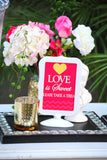 Pink BRIDAL SHOWER - Bridal STRAW FLAGS- Love- Wedding