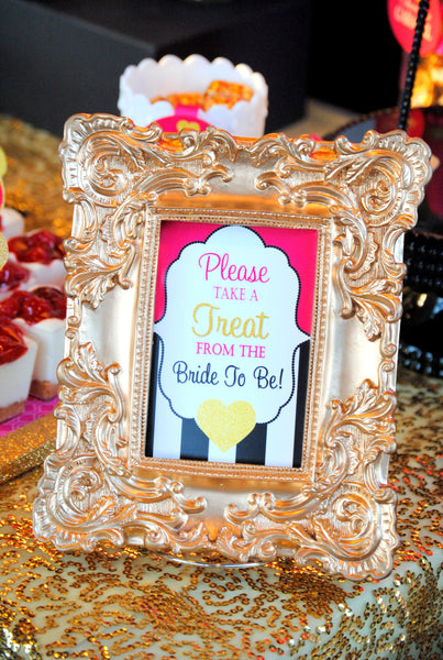 Black and White Stripe SIGN - Bridal Shower Sign - Pink and Gold