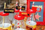 MOVIE PARTY - HOLLYWOOD STRAW FLAGS- Hollywood Party- Red Carpet Party- Cinema Party