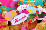 FLAMINGO Party- LUAU BANNER- Hawaiian Luau- Pool Party - Flamingo Birthday Banner