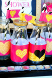 Pink BRIDAL SHOWER - Bridal BOTTLE LABELS - Love