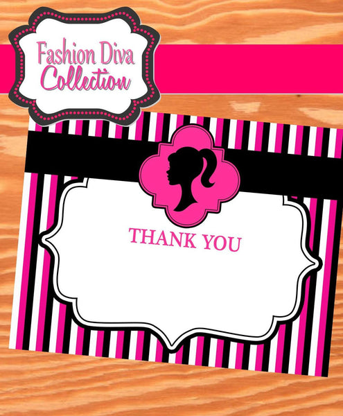FASHION DIVA Party- Diva Party Printables - THANK YOU CARDS- Tween Party