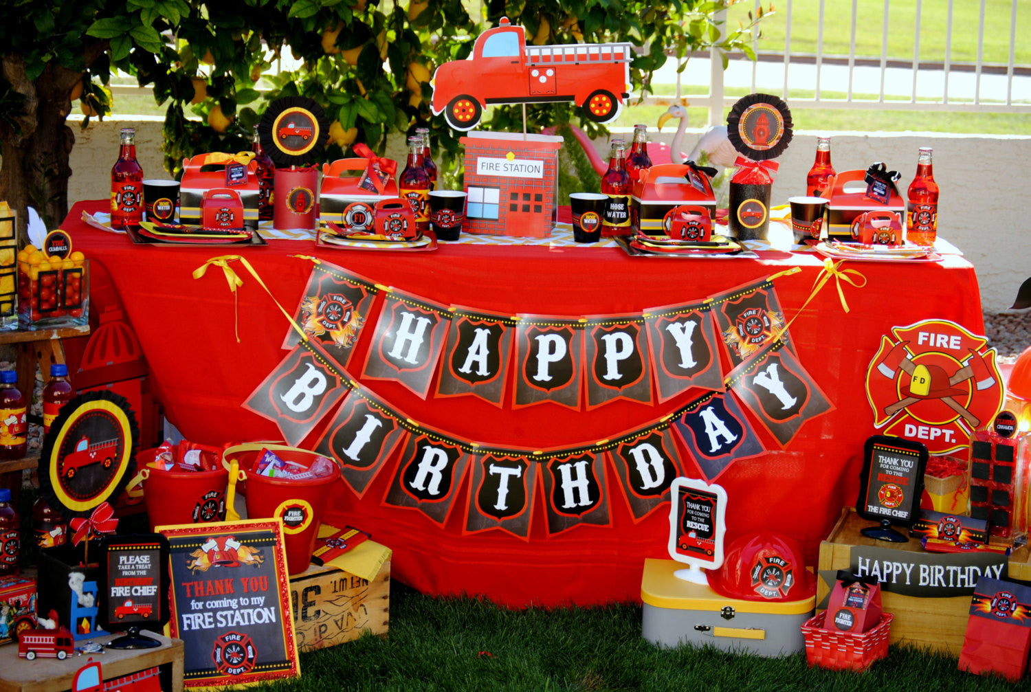 Fireman Birthday Fire Fighter Party Fire Man Ribbon Banner