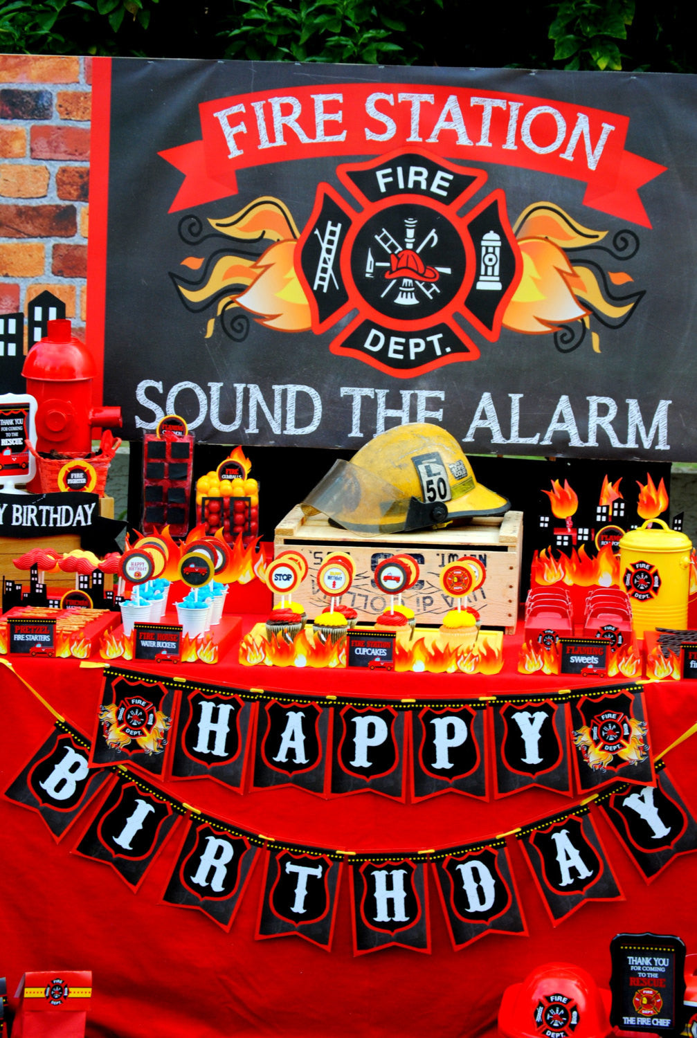 FIREMAN Birthday Fire Fighter Party Fire Man RIBBON BANNER – Firefighter Party Invitations