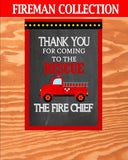 FIREMAN Birthday - Fire Fighter SIGNS - Fire man Party- Fire Fighter Party- Fireman Party