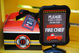 FIREMAN Birthday - Fire Fighter THANK YOU TAGS - Fire man Party