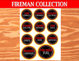 FIREMAN Birthday - Fire Fighter Party - Fire Man LABELS- Fireman Party